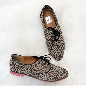 Dolce Vita Leopard Print Oxford Loafers Lace Up